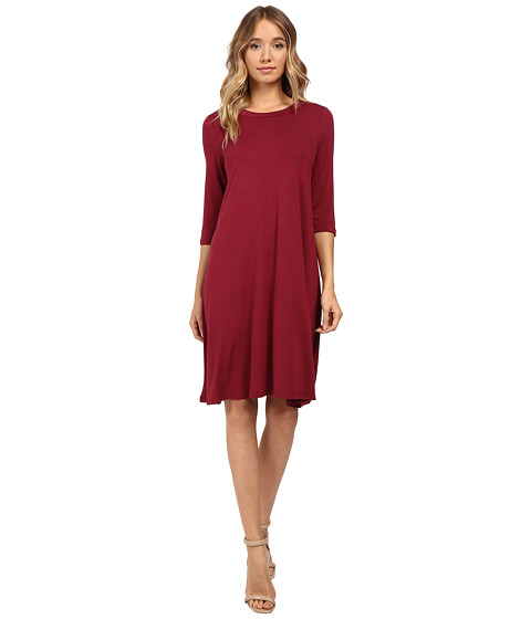Christin Michaels Abida 3/4 Sleeve Flowy Dress - Wine