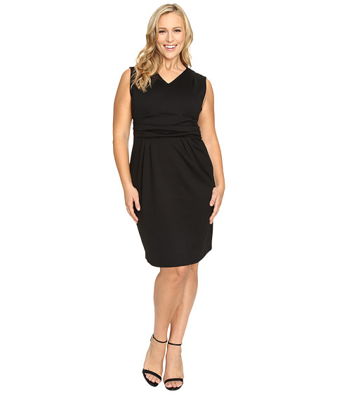 Christin Michaels Plus Size Kassandra V-Neck Ponte Dress with Cinched Waist