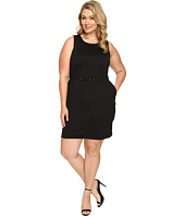 Christin Michaels - Plus Size Marianna Sleeveless Ponte Dress with Belt