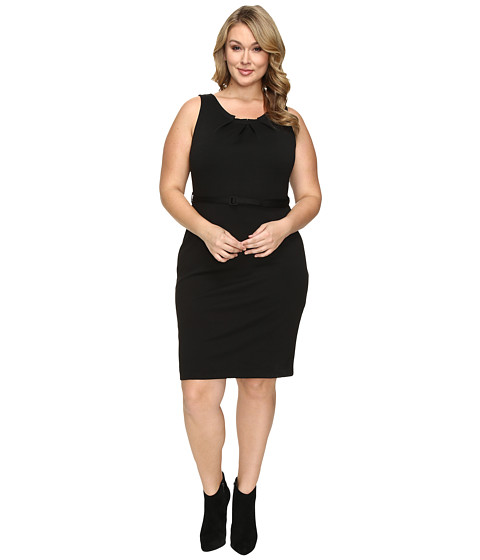 Christin Michaels Plus Size Merla Sleeveless Pleated Ponte Dress - Black