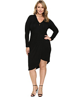 Christin Michaels - Plus Size Ailie Long Sleeve Crossed Dress