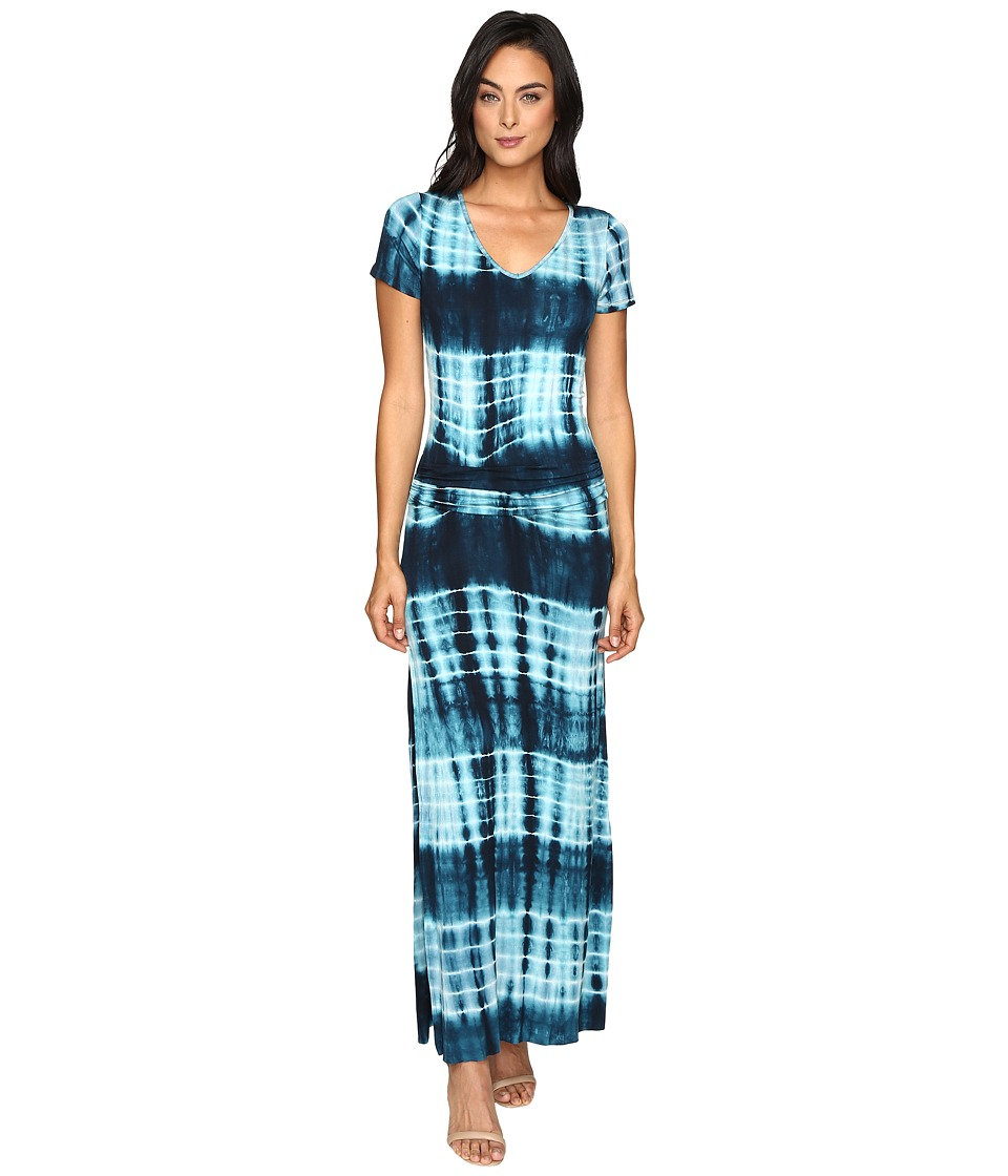 Culture Phit Carlia Short Sleeve Gathered Maxi Dress (Navy/Aqua) Women