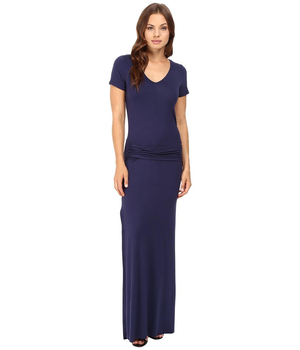 Culture Phit Carlia Short Sleeve Gathered Maxi Dress (Navy) Women