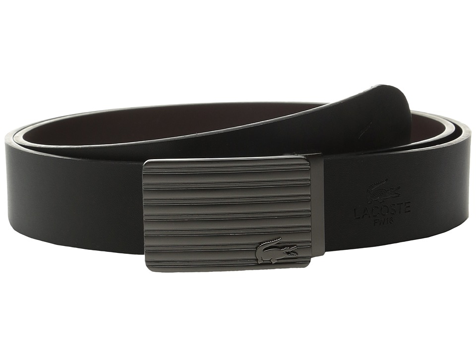 Lacoste Premium Leather Interchangeable Buckle Belt Set (Black/Brown) Men