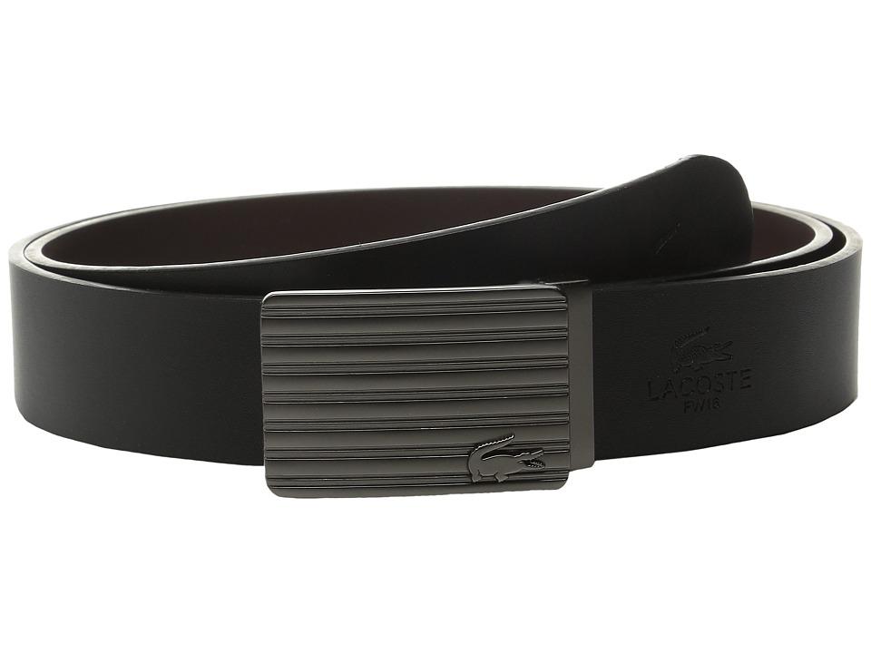 Lacoste Premium Leather Interchangeable Buckle Belt Set (Black/Brown) Men