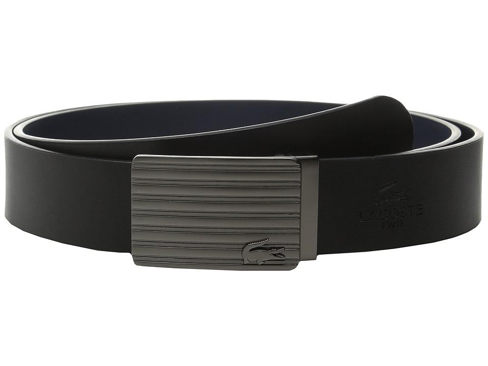 Lacoste Premium Leather Interchangeable Buckle Belt Set (Black/Navy) Men