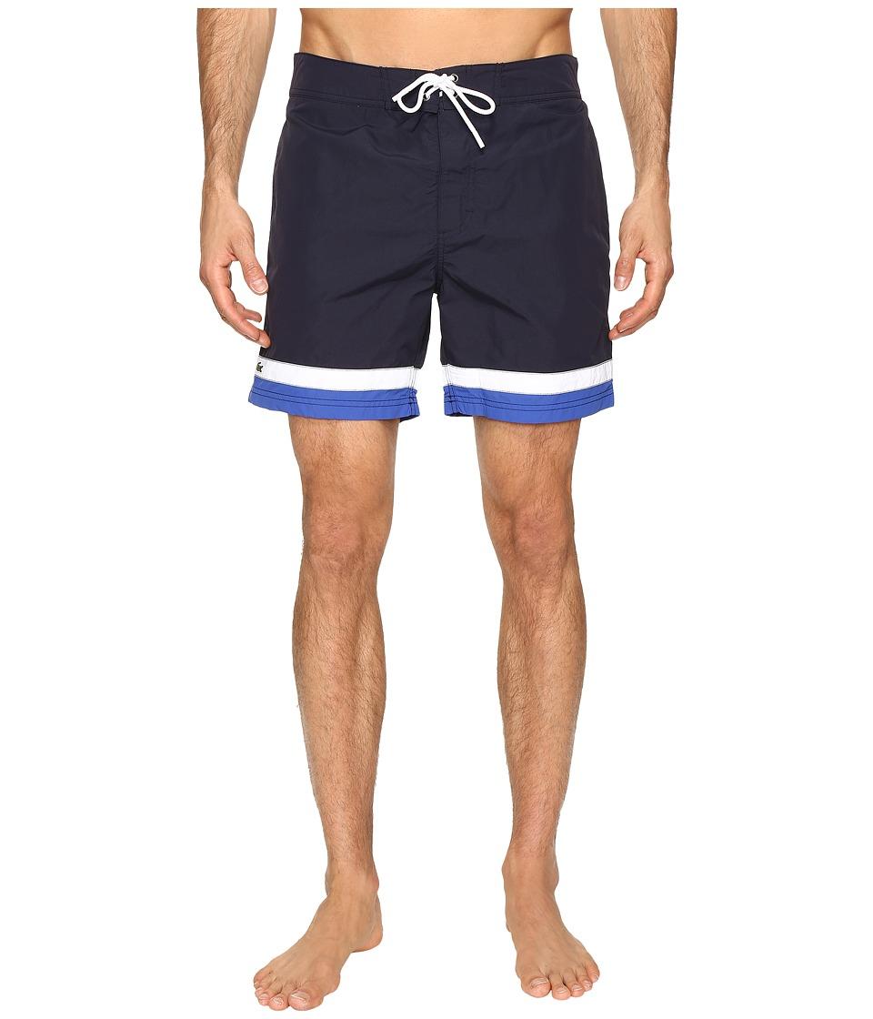 Lacoste Color Block Swim Shorts (Cosmos/White/Steamer) Men