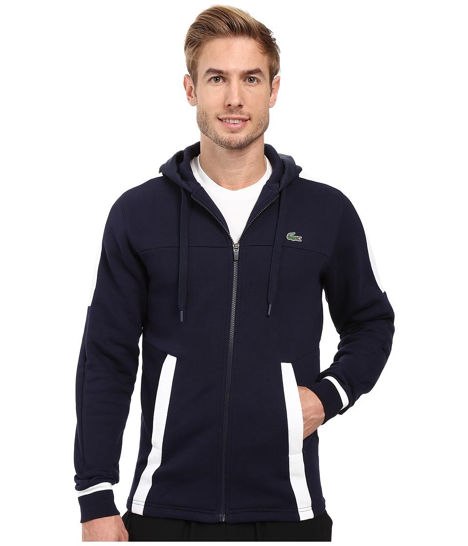 Lacoste - T2 Fleece Color Block Zip Hoodie (Navy Blue/White) Men