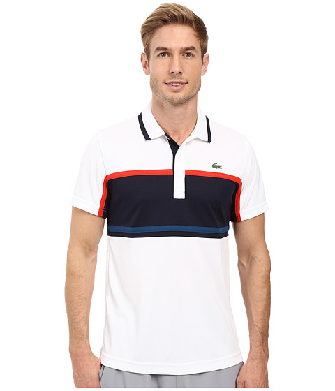 Lacoste Sport Short Sleeve Ultra Dry Chest Stripe