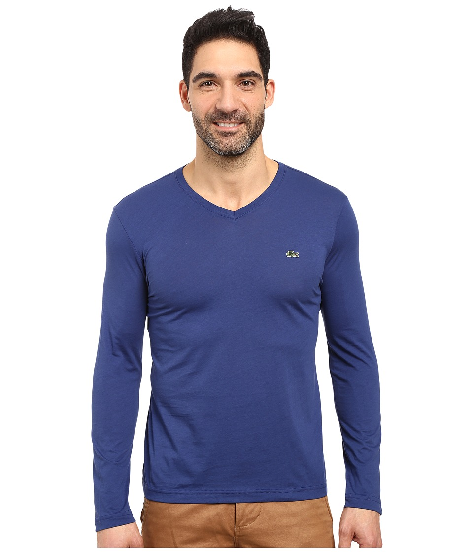 Lacoste Long Sleeve Pima Jersey V-Neck T-Shirt (Waterfall Blue) Men