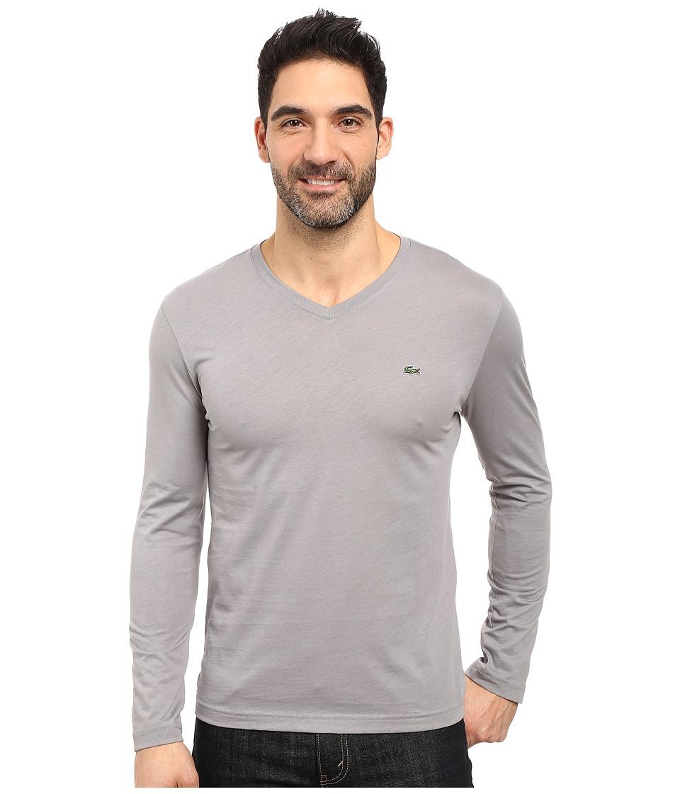 Lacoste - Long Sleeve Pima Jersey V-Neck T-Shirt (Platinum Grey) Men