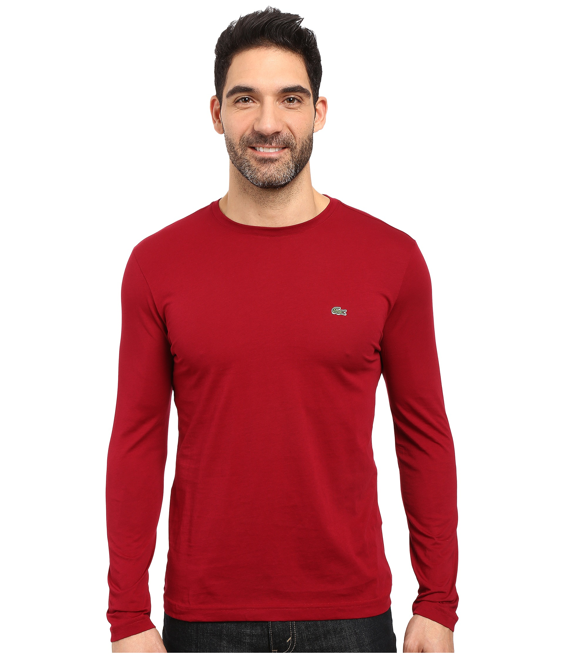 Lacoste Long Sleeve Pima Jersey Crew Neck Tee Shirt At