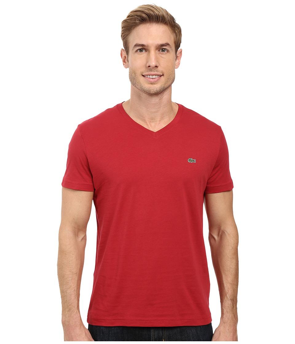 Lacoste - Short Sleeve V-Neck Pima Jersey Tee Shirt (Intense) Men