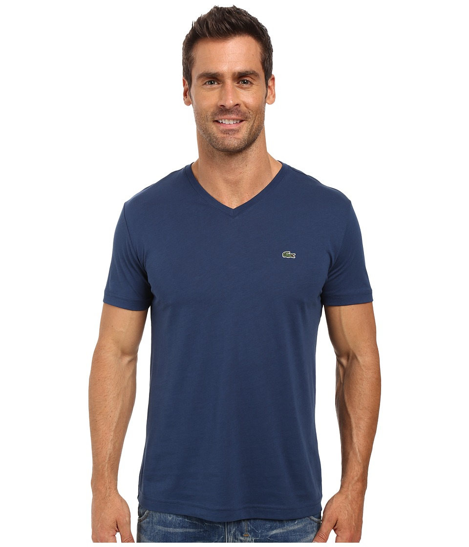 Lacoste - Short Sleeve V-Neck Pima Jersey Tee Shirt (Philippines Blue) Men