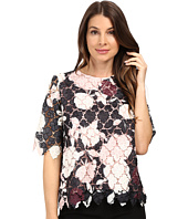 Vince Camuto - Elbow Sleeve Chapel Rose Printed Lace Top