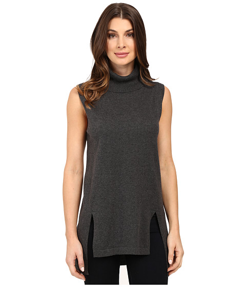 Vince Camuto Sleeveless Turtleneck Sweater with Front Slits