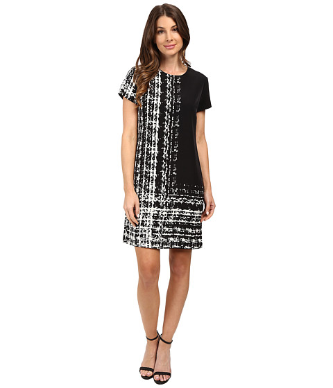 Vince Camuto Cap Sleeve Textural Track Shift Dress