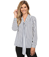 Vince Camuto - Long Sleeve Cargo Stripe Tie Neck Blouse