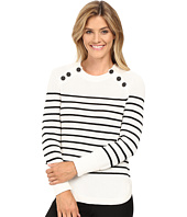 Vince Camuto - Long Sleeve Stripe Sweater with Neck Button Trim