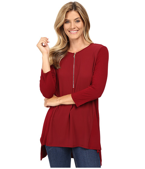 Vince Camuto 3/4 Sleeve Soft Texture 1/2 Zip Top