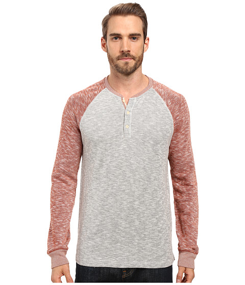 Lucky Brand Grey Label Color Block Henley - Red Multi