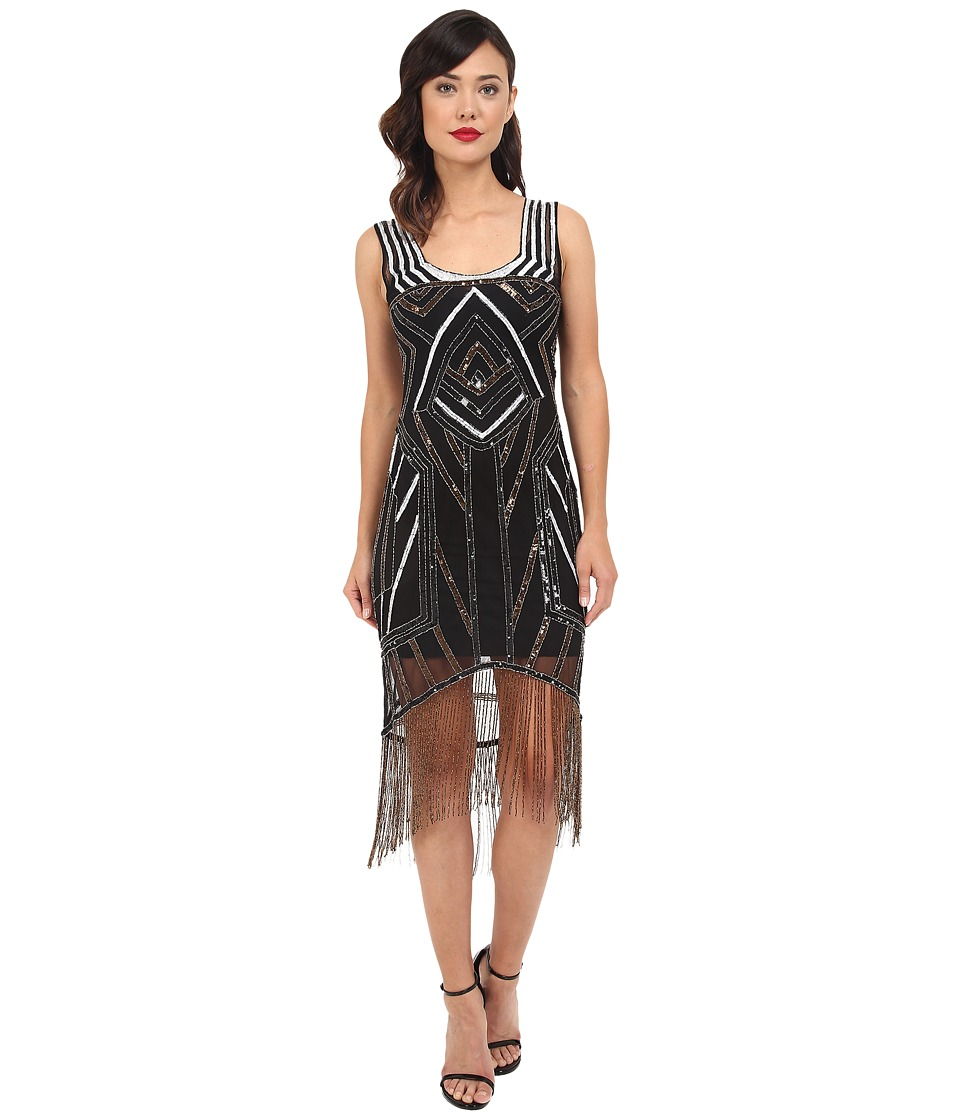 Unique Vintage Deco Beaded Marceline Fringe Flapper Dress Black/Silver Womens Dress
