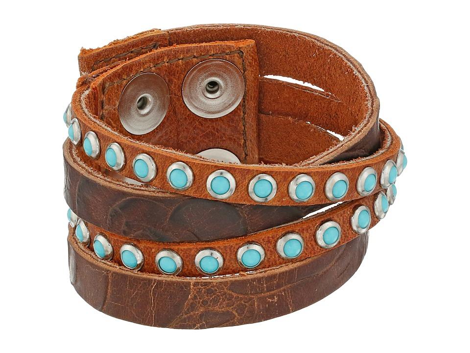 Leatherock - B622 (Handtiqued Auburn/Etna Eagle Cognac/Old Silver/Patina Cabs) Bracelet