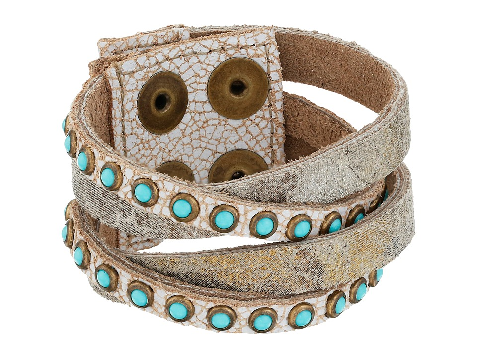 Leatherock - B622 (Carson City White/Vintage Silver/Gold/Antique Brass/Patina Cabs) Bracelet
