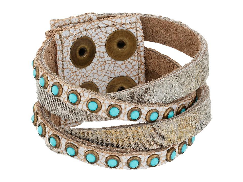 Leatherock - B622 (Carson City White/Vintage Silver/Gold/Antique Brass/Patina Cabs) Bracelet