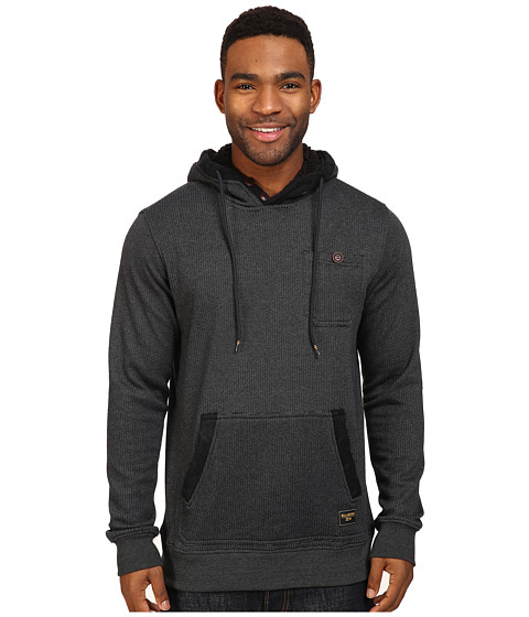 Billabong Rasta Cable Sherpa Lined Hoodie - Black Heather