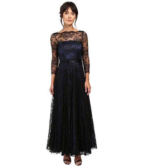 Tahari by ASL Black Lace Over Navy Lining Long Sleeve Dress