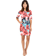 Tahari by ASL - Rose Print Sheath Square Neck Dress