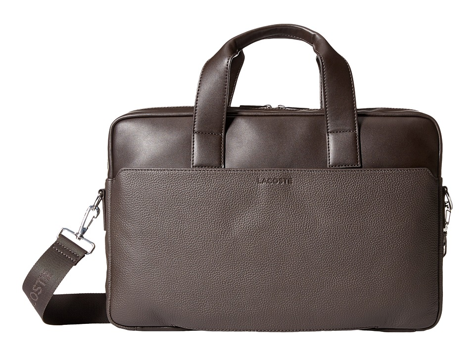 Lacoste - Rafael Leather Computer Bag (Chocolate Brown) Computer Bags