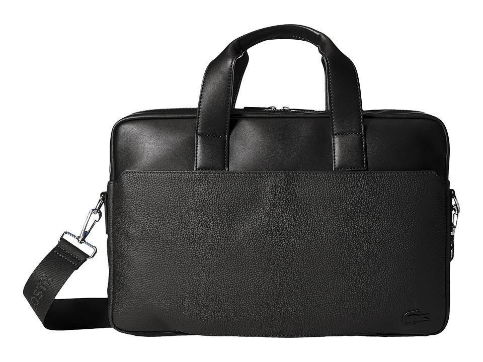 Lacoste - Rafael Leather Computer Bag (Black) Computer Bags