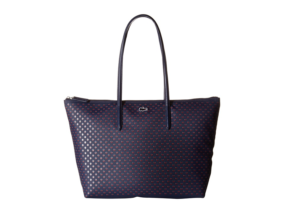 Lacoste - L.12.12 Concept All Over Pique Print Tote (Peacoat Jacquard) Tote Handbags