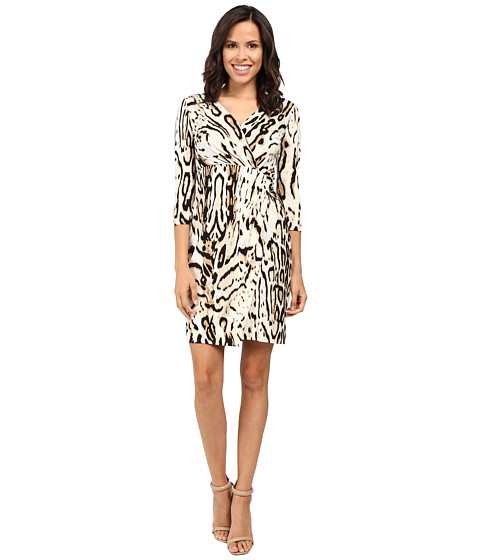 Tahari by ASL 3/4 Sleeve Cheetah Faux Wap Dress