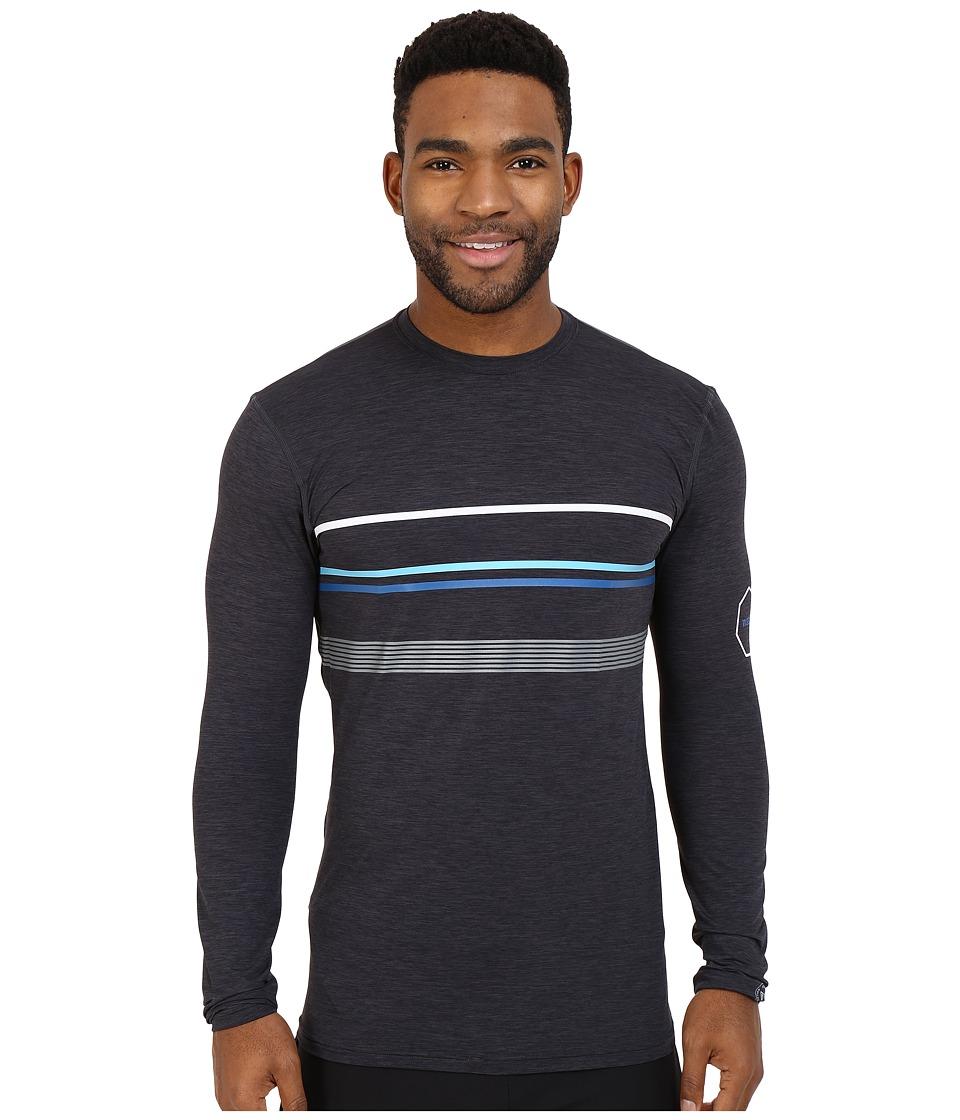 VISSLA Alltime Stripe Long Sleeve Heathered Surf T Shirt UPF 50 Black Heather Mens Swimwear