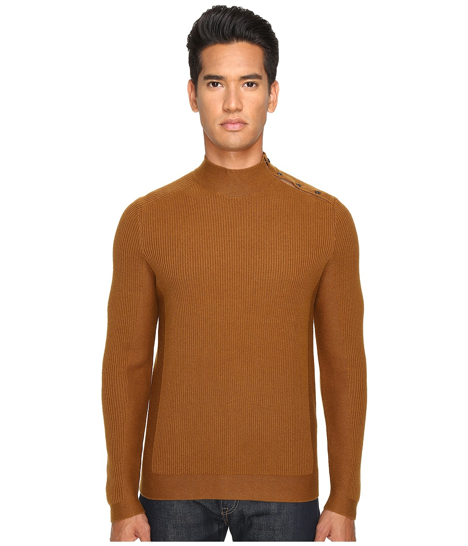 The Kooples - Cotton and Nylon Mock Turtleneck (Camel) Me...