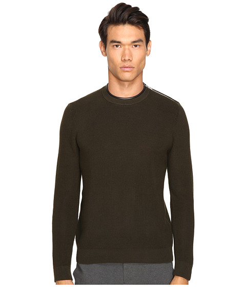 The Kooples Mercerized Cotton & Leather Sweater - Khaki