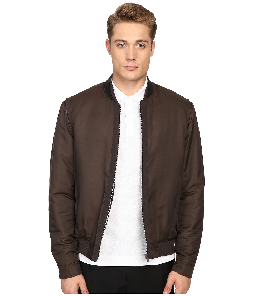 The Kooples - Grosgrain Placket Bomber Jacket (Khaki) Men
