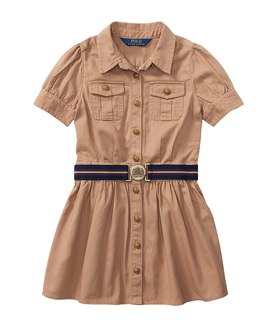 Ralph Lauren Tissue Chino Shirtdress (Toddler) (Khaki) Gi...