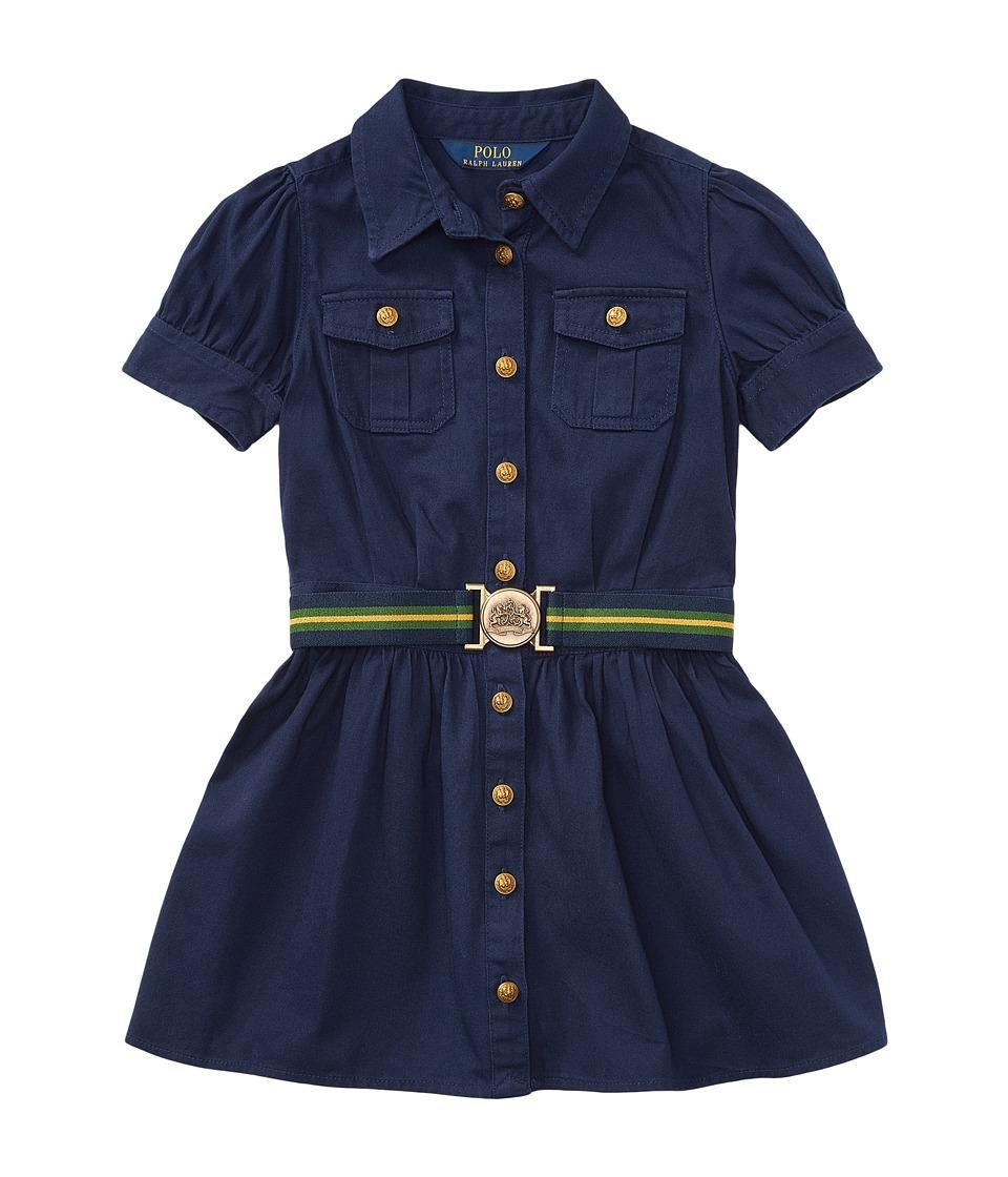 Polo Ralph Lauren Kids - Tissue Chino Shirtdress (Little Kids) (Newport Navy) Girls Dress