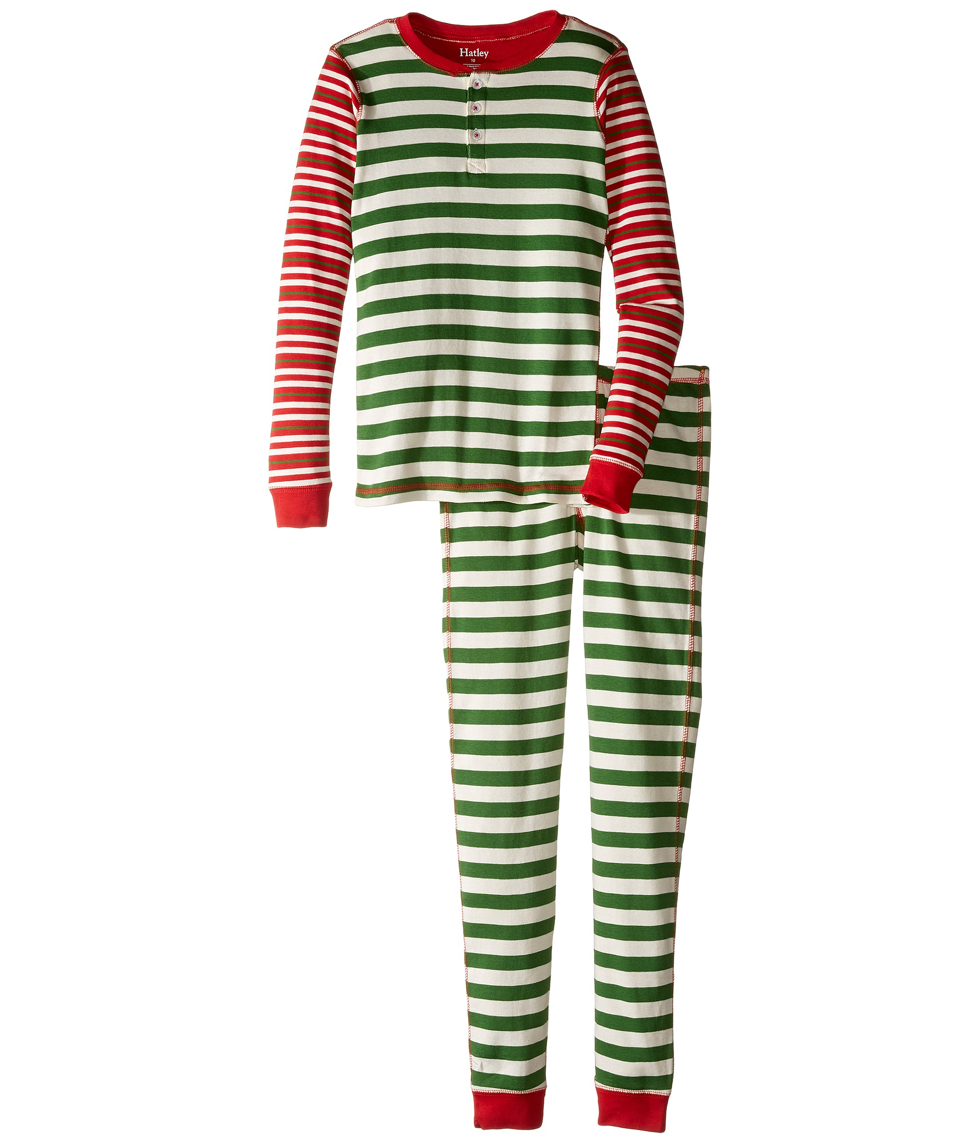 Hatley Kids Holiday Stripe Henley Pajama (Toddler/Little ...