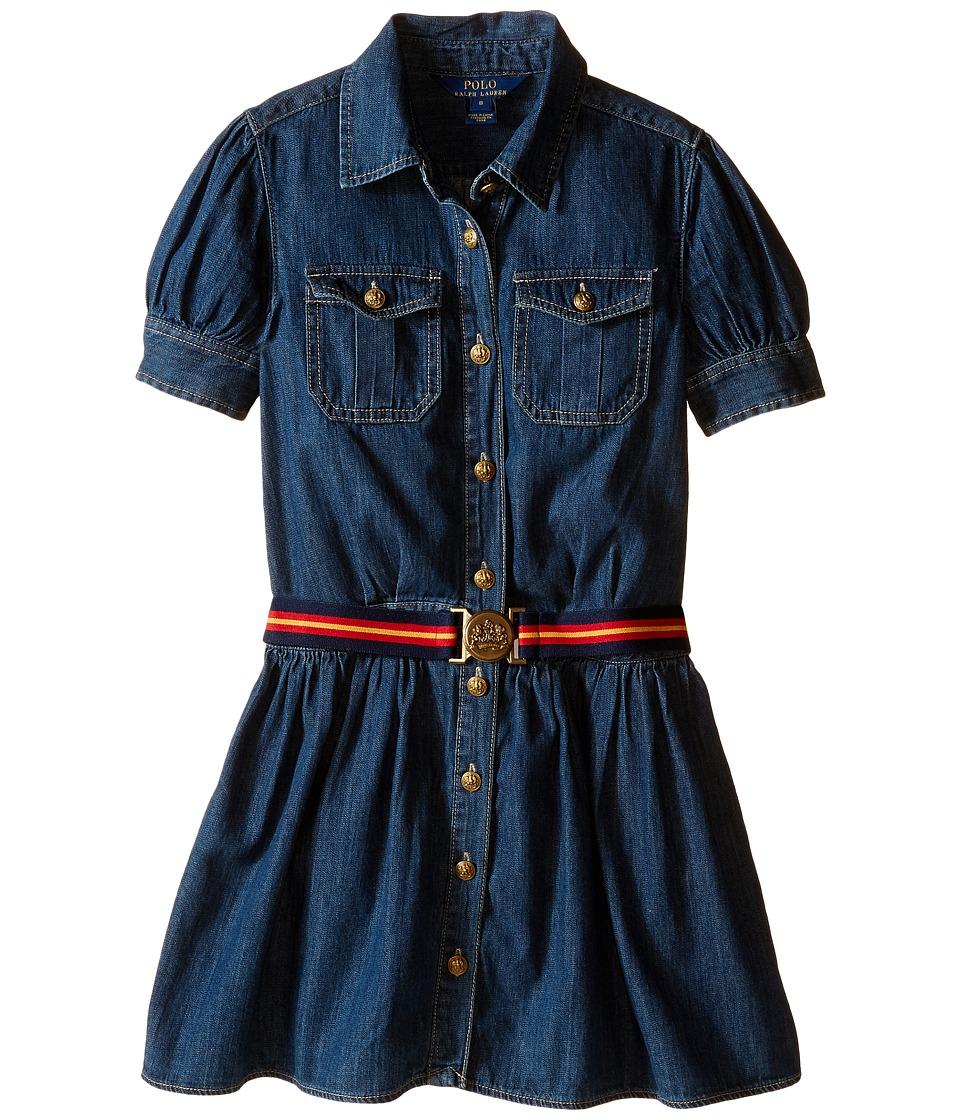 Polo Ralph Lauren Kids - Denim Shirtdress (Big Kids) (Quincy Wash) Girls Dress