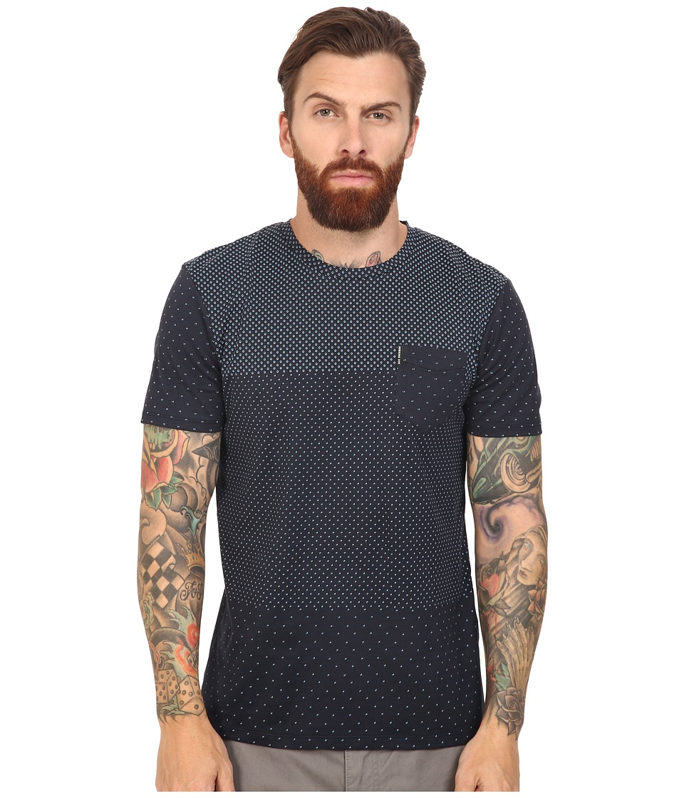 Ben Sherman Short Sleeve Blocked Micro Print Tee (Staples Navy) Men