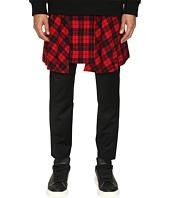 D.GNAK - Pants with Detachable Wrap Check Skirt
