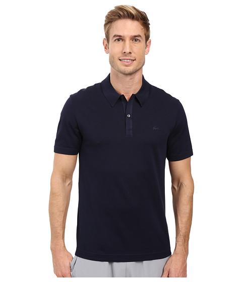 Lacoste Short Sleeve Mercerized Pique Polo w/ Tonal Embroid Croc - Navy Blue
