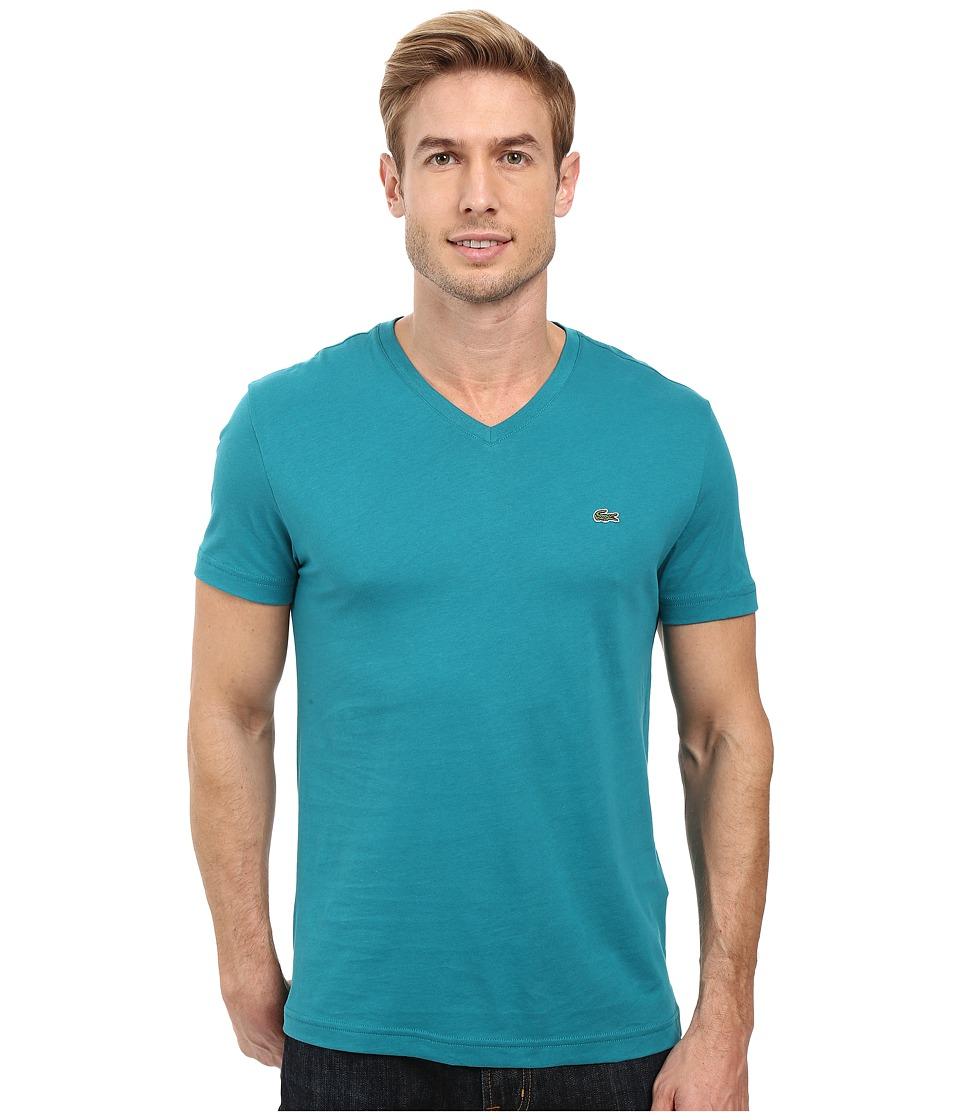 Lacoste - Short Sleeve V-Neck Pima Jersey Tee Shirt (Emerald) Men