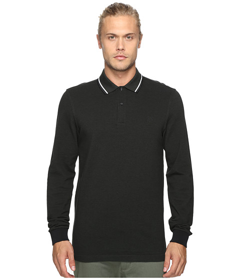 Fred Perry Long Sleeve Twin Tipped Shirt - Hunting Black/Green Oxford/White/Black
