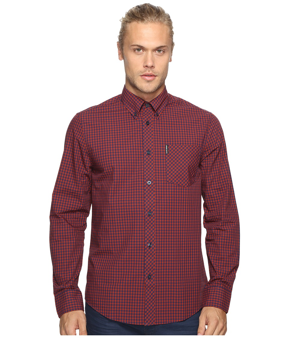 Ben Sherman - Long Sleeve Gingham Woven Shirt (Rust Orange) Men's Long Sleeve Button Up
